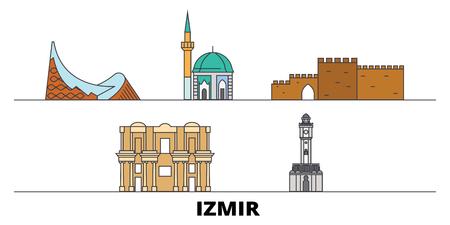 Turkey, Izmir flat landmarks vector illustration. Turkey, Izmir line city with famous travel sights, design skyline.