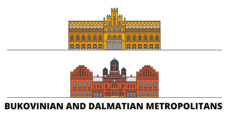 Ukraine, Bukovinian And Dalmatian Metropolitans flat landmarks vector illustration. Ukraine, Bukovinian And Dalmatian Metropolitans line city with famous travel sights, design skyline.