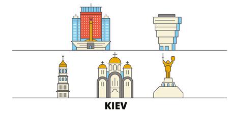 Ukraine, Kiev flat landmarks vector illustration. Ukraine, Kiev line city with famous travel sights, design skyline. Illustration