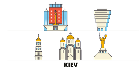 Ukraine, Kiev flat landmarks vector illustration. Ukraine, Kiev line city with famous travel sights, design skyline. 向量圖像