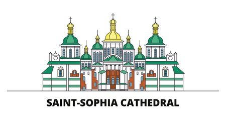 Ukraine, Kiev, Saint Sophia Cathedral flat landmarks vector illustration. Ukraine, Kiev, Saint Sophia Cathedral line city with famous travel sights, design skyline.
