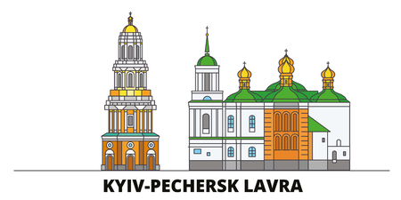 Ukraine, Kyiv, Pechersk Lavra flat landmarks vector illustration. Ukraine, Kyiv, Pechersk Lavra line city with famous travel sights, design skyline. Stock Illustratie