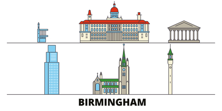 United Kingdom, Birmingham flat landmarks vector illustration. United Kingdom, Birmingham line city with famous travel sights, design skyline.
