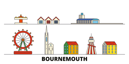 United Kingdom, Bournemouth flat landmarks vector illustration. United Kingdom, Bournemouth line city with famous travel sights, design skyline.