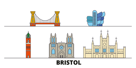 United Kingdom, Bristol flat landmarks vector illustration. United Kingdom, Bristol line city with famous travel sights, design skyline.