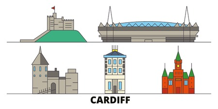 United Kingdom, Cardiff flat landmarks vector illustration. United Kingdom, Cardiff line city with famous travel sights, design skyline. Vectores