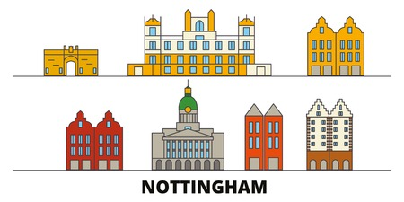 United Kingdom, Nottingham flat landmarks vector illustration. United Kingdom, Nottingham line city with famous travel sights, design skyline.