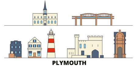 United Kingdom, Plymouth flat landmarks vector illustration. United Kingdom, Plymouth line city with famous travel sights, design skyline. Illustration