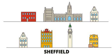 United Kingdom, Sheffield flat landmarks vector illustration. United Kingdom, Sheffield line city with famous travel sights, design skyline.