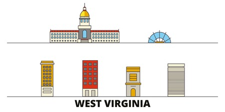 United States, Charleston West Virginia flat landmarks vector illustration. United States, Charleston West Virginia line city with famous travel sights, design skyline. Ilustrace