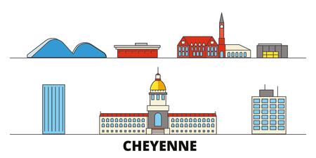 United States, Cheyenne flat landmarks vector illustration. United States, Cheyenne line city with famous travel sights, design skyline.