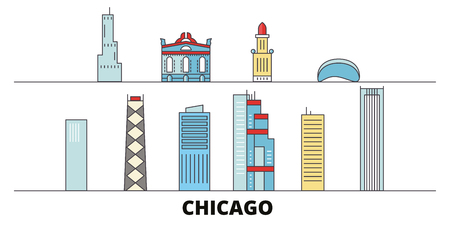 United States, Chicago flat landmarks vector illustration. United States, Chicago line city with famous travel sights, design skyline.