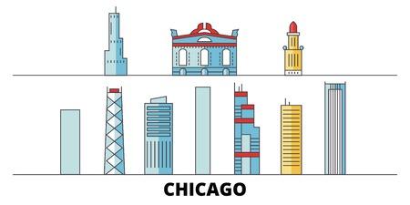 United States, Chicago City flat landmarks vector illustration. United States, Chicago City line city with famous travel sights, design skyline.