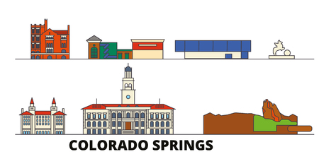 United States, Colorado Springs flat landmarks vector illustration. United States, Colorado Springs line city with famous travel sights, design skyline. Illustration