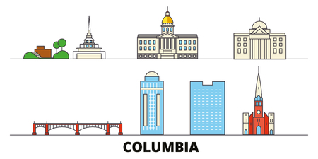 United States, Columbia flat landmarks vector illustration. United States, Columbia line city with famous travel sights, design skyline. 일러스트