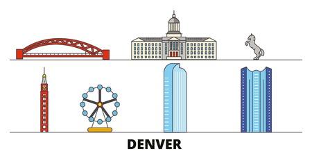 United States, Denver flat landmarks vector illustration. United States, Denver line city with famous travel sights, design skyline.
