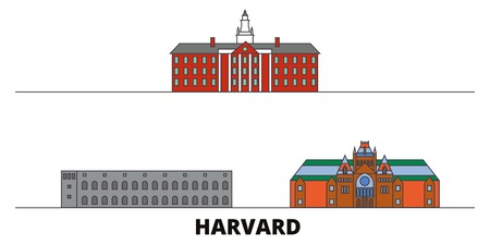 United States, Harvard flat landmarks vector illustration. United States, Harvard line city with famous travel sights, design skyline. Ilustrace