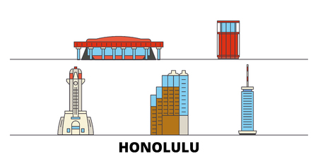 United States, Honolulu flat landmarks vector illustration. United States, Honolulu line city with famous travel sights, design skyline.