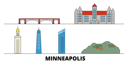 United States, Minneapolis flat landmarks vector illustration. United States, Minneapolis line city with famous travel sights, design skyline.