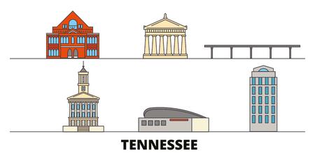 United States, Nashville flat landmarks vector illustration. United States, Nashville line city with famous travel sights, design skyline.