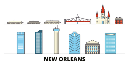 United States, New Orleans flat landmarks vector illustration. United States, New Orleans line city with famous travel sights, design skyline.