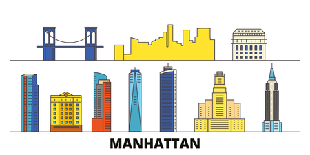 United States, New York Manhattan flat landmarks vector illustration. United States, New York Manhattan line city with famous travel sights, design skyline.