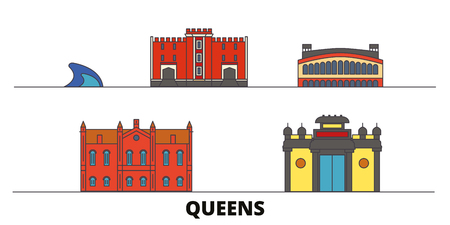 United States, New York Queens flat landmarks vector illustration. United States, New York Queens line city with famous travel sights, design skyline.