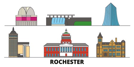 United States, New York Rochester flat landmarks vector illustration. United States, New York Rochester line city with famous travel sights, design skyline.