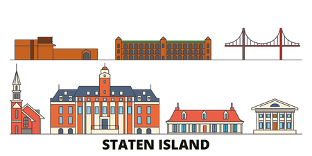 United States, New York Staten Island flat landmarks vector illustration. United States, New York Staten Island line city with famous travel sights, design skyline.  イラスト・ベクター素材