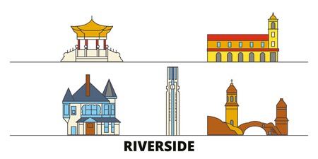 United States, Riverside flat landmarks vector illustration. United States, Riverside line city with famous travel sights, design skyline.  イラスト・ベクター素材