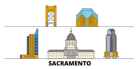 United States, Sacramento flat landmarks vector illustration. United States, Sacramento line city with famous travel sights, design skyline.
