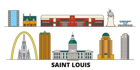 United States, Saint Louis flat landmarks vector illustration. United States, Saint Louis line city with famous travel sights, design skyline.