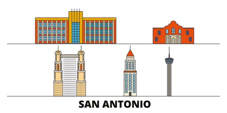 United States, San Antonio flat landmarks vector illustration. United States, San Antonio line city with famous travel sights, design skyline.