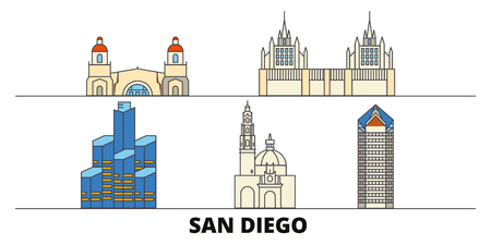 United States, San Diego flat landmarks vector illustration. United States, San Diego line city with famous travel sights, design skyline. Ilustrace