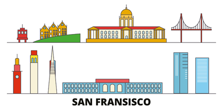 United States, San Francisco flat landmarks vector illustration. United States, San Francisco line city with famous travel sights, design skyline.