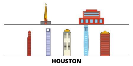 United States, Houston flat landmarks vector illustration. United States, Houston line city with famous travel sights, design skyline.