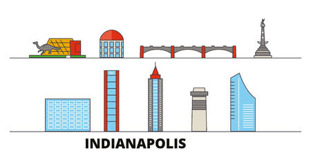 United States, Indianapolis  flat landmarks vector illustration. United States, Indianapolis  line city with famous travel sights, design skyline. Stock Vector - 120892170