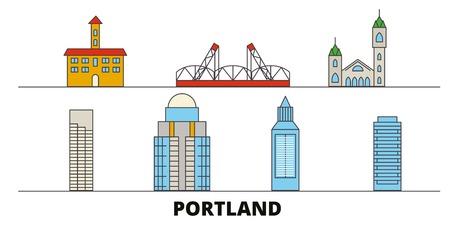 United States, Portland flat landmarks vector illustration. United States, Portland line city with famous travel sights, design skyline. Illustration