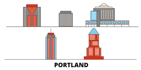 United States, Portland City flat landmarks vector illustration. United States, Portland City line city with famous travel sights, design skyline. Illustration