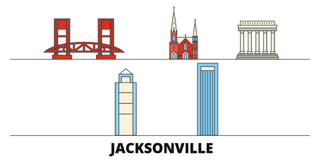 United States, Jacksonville flat landmarks vector illustration. United States, Jacksonville line city with famous travel sights, design skyline.