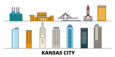 United States, Kansas City flat landmarks vector illustration. United States, Kansas City line city with famous travel sights, design skyline.