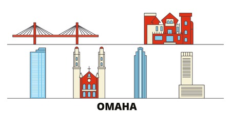 United States, Omaha flat landmarks vector illustration. United States, Omaha line city with famous travel sights, design skyline.