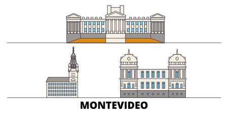 Uruguay , Montevideo flat landmarks vector illustration. Uruguay , Montevideo line city with famous travel sights, design skyline. Illustration