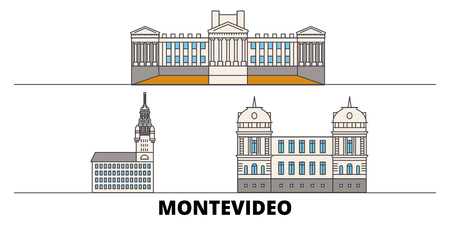 Uruguay , Montevideo flat landmarks vector illustration. Uruguay , Montevideo line city with famous travel sights, design skyline. Imagens - 119452515