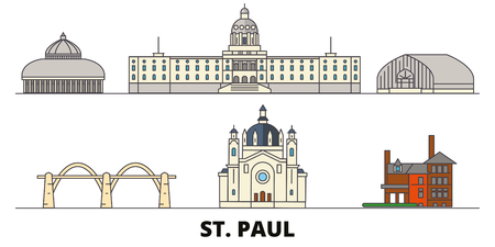 United States, St. Paul flat landmarks vector illustration. United States, St. Paul line city with famous travel sights, design skyline.