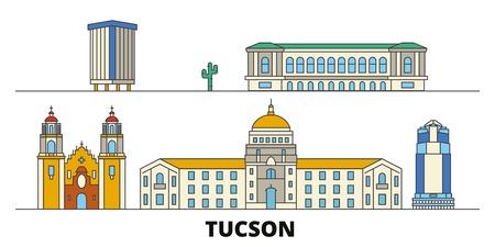 United States, Tucson flat landmarks vector illustration. United States, Tucson line city with famous travel sights, design skyline.