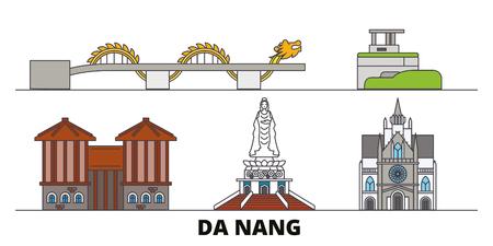Vietnam, Da Nang flat landmarks vector illustration. Vietnam, Da Nang line city with famous travel sights, design skyline.