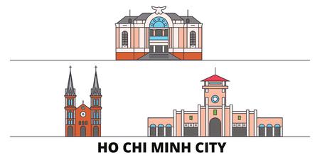 Vietnam, Ho Chi Minh City flat landmarks vector illustration. Vietnam, Ho Chi Minh City line city with famous travel sights, design skyline.