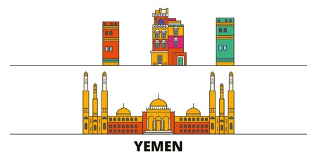 Yemen, Sanaa flat landmarks vector illustration. Yemen, Sanaa line city with famous travel sights, design skyline.