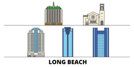 United States, Long Beach flat landmarks vector illustration. United States, Long Beach line city with famous travel sights, design skyline.  イラスト・ベクター素材